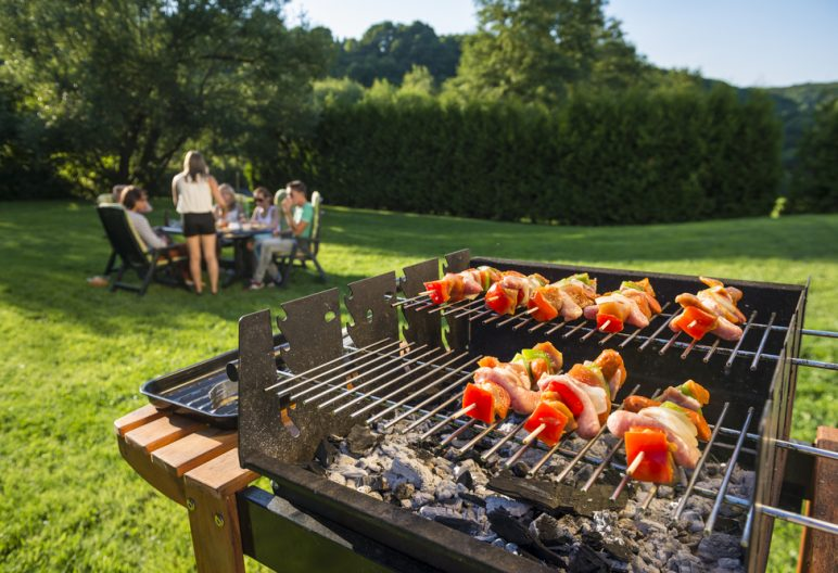 Barbecue grill on artificial grass in North Carolina