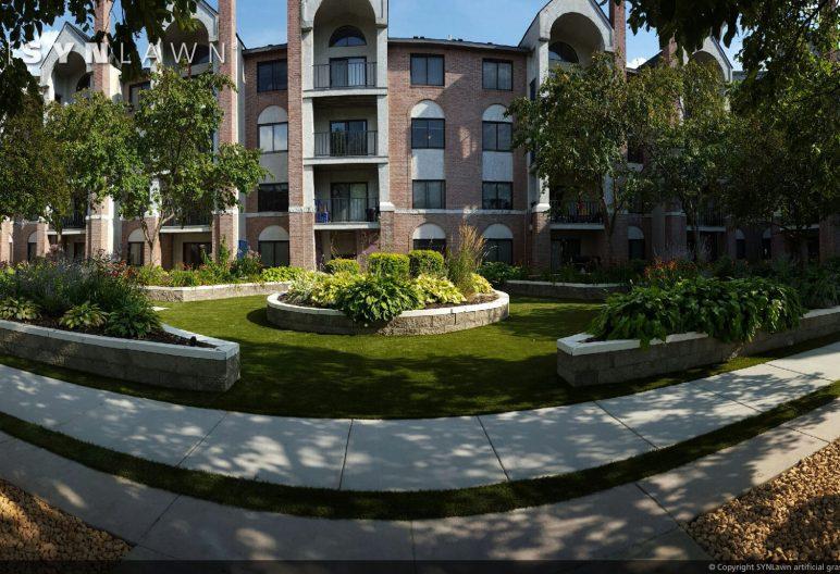 artificial grass at apartment building