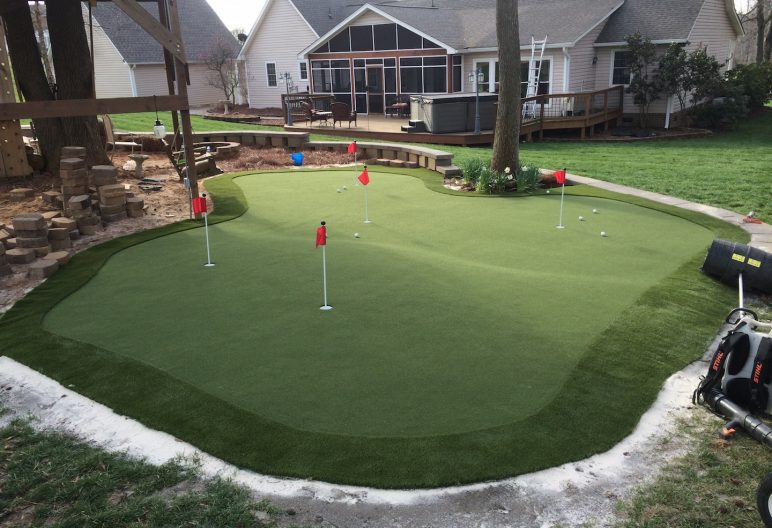 Large backyard artificial putting green in North Carolina