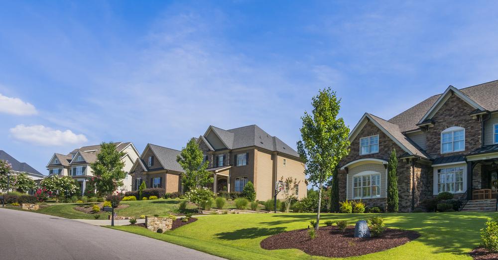 Suburban street view in South Carolina.